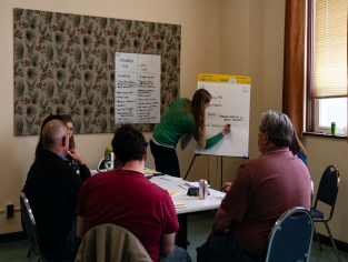 Group of people in a room, watching a notetaker writing on flipchart.