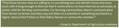 """Quote """"Find those farmers that are willing to try something new and identify those who have stuck with it long enough to find out that it works and try to have them be an advocate, or poster child for farming communities. For farming communities, there's communication from farmer to farmer and they may not listen to a scientist or something but there's a higher chance they'll listen to their fellow farmer or community member."""" – Group H, Department of Agriculture employee)"""