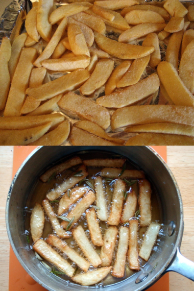 Top: oven dish with frozen french fries laid out. Bottom: a saucepan with fries in bubbling oil.