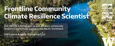 Header with photo of a river through forest, announcing hiring of a Frontline Community Climate Resilience Scientist