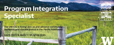 Header with photo of pasture and mountains, announcing hiring of a Program Integration Specialist