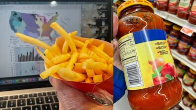 Side by side photos of a container with French fries and a jar of pasta sauce