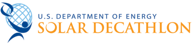 "This is the Solar Decathlon logo, a globe with light blue lines that shows the latitudinal and longitudinal lines. A large blue animation of a person is holding the globe and a shape like the sun. Their name is written in blue next to it and a slogan is written below it. The slogan reads ""U.S Department of Energy Solar Decathlon"" Used on the EnCity Website."