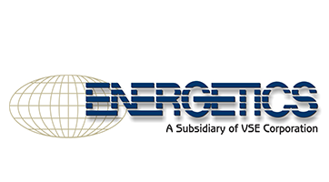"This is the Energetics logo, a globe with grey lines that shows the latitudinal and longitudinal lines. Their name is written in blue next to it and a slogan is written below it. The slogan reads ""A subsidiary of VSE Corporation."" Used on the EnCity Website."