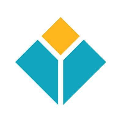 This is the EnCity logo. It is a diamond shape with a smaller diamond in the top corner painted yellow and the rest is blue. a white line divides the colors and cuts down the middle of the blue.