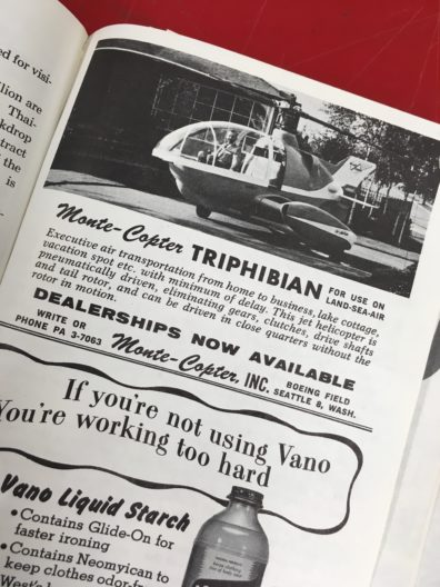 Photo of ad for a Monte-Copter Triphibian from the 1962 Seattle World's Fair guidebook