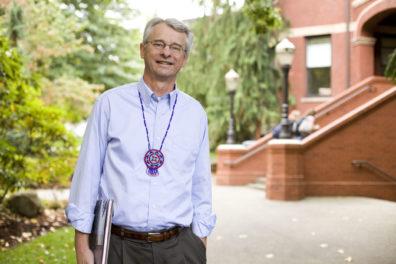 Richard Scheuerman walking on campus