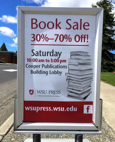 WSU Press Spring Book Sale Sign with day, time, and discount information