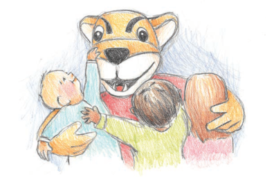 Drawing of Butch surrounded by children