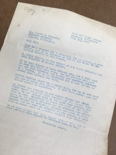 Photograph of Mishi Hirata's letter
