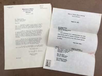 photograph of two typewritten letters