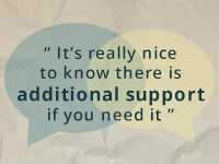 Text: It's really nice to know there is additional support if you need it