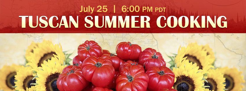 text Tuscan summer cooking July 25 6pm - with image of tomatoes and sunflowers