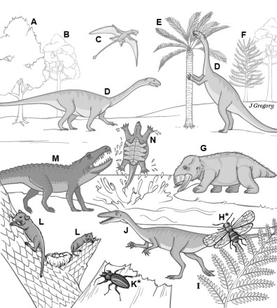 Conscious animals in the Age of reptiles 220 million years ago (shaded) according to theory of Feinberg and Mallatt 2016.