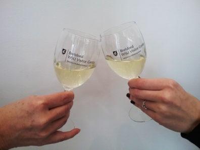 Cheering wine glasses.