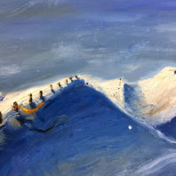 An oil-on-canvas painting by WSU student artist Christina Sagrelius that depicts snowy hills reminiscent of the Palouse in winter.