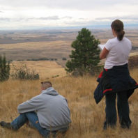 Students reflect on and sketch their observations of the Palouse at Kamiak Butte.