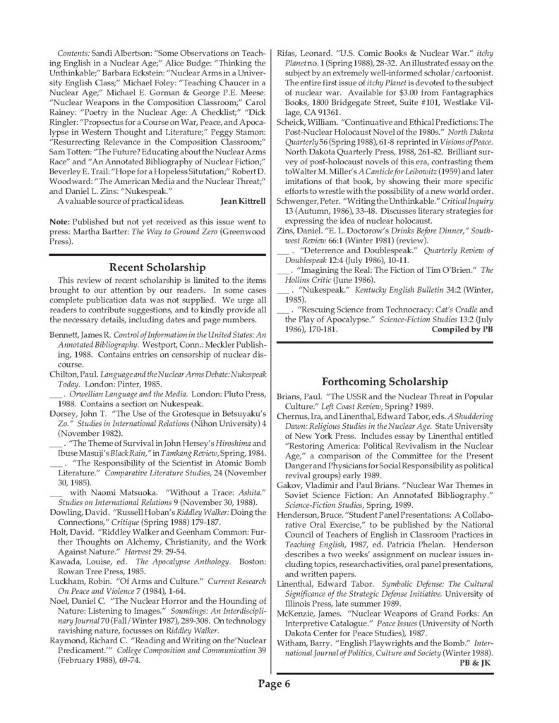 Historic document newsletter from the late 1990's discussing Nuclear Texts and Contexts