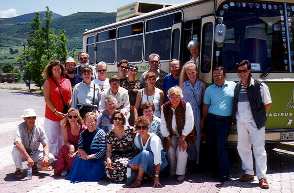 "Photo of tour group: front row (l-r): Howard Wright, Chris Barquist, Ellinor Porter, Paula Elliot, Pam Demo;Second row: Sylvia Bushaw, Carol Gay, Marie (""Mimi"") Wright; Third row: Susan Long, Alison Hall, Marcia Schekel, Jan Maguire, Trude Winters, bus driver, Zac Matthews; Back rows: Paul Brians, Don Bushaw, Merritt Wolfkill, Amy Bushaw, Barbara & Neal Porter, Cal & Margrethe Konzak."