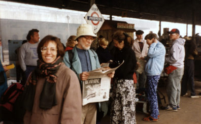 Roger, Paula, David, Megan, Marina, Michael, Margaret, and Terry waiting at the train station early in the morning of December 31.
