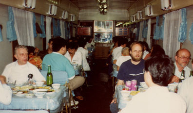 TRAIN: We got not the luxury train paid for, but a run-down, noisy shambles. I took a sleeping pill and slept most of the trip to Shanxi, which was very hot.