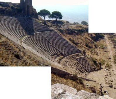 PERGAMUM ACEOPOLIS: The theater at Pergamum is so vast it couldn't be fit into a single shot; here's a composite to give some impression of its size.