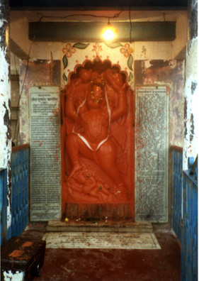 Shrines are everywhere in Kashi, the Ganges-side area of Varanasi. This one honors the monkey-king, Hanuman.
