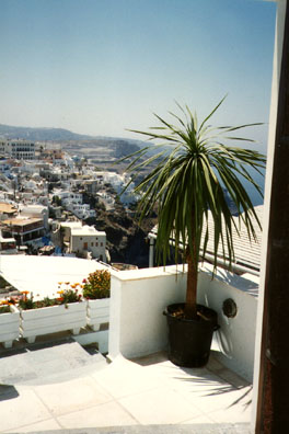 SANTORINI: From Santorini Palace Hotel, whitewashed buildings clinging to the hillsides.