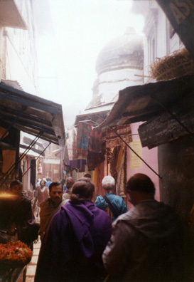Members of the WSU tour group explore the narrow streets of the sacred city. Left to right: Maria Montes de Oca Ricks, Mary Gallwey, and Terry Cook.
