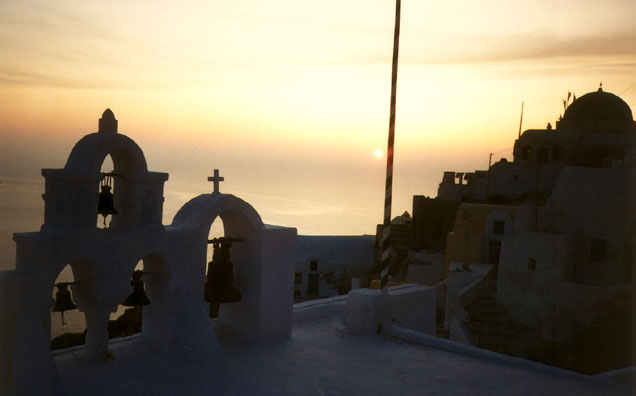 SANTORINI: The big event of Oia's day is nightfall as crowds gather to watch the sun set.