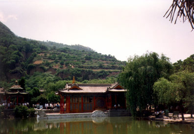 HUAQING TEMPLE: Marble boat-pavilion at hot springs.