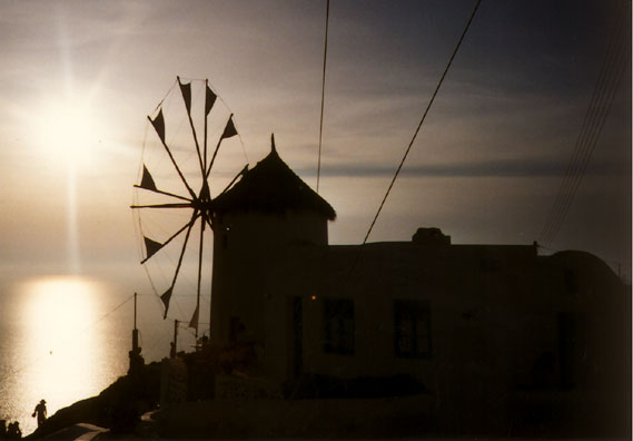 SANTORINI: Abandoned windmills litter the islands. This one has been turned into a restaurant.