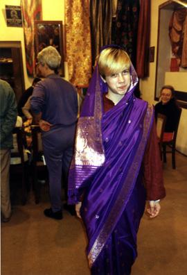 Megan Brians models a sari.