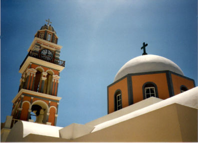 SANTORINI: In the Catholic cathedral of Fira, cloistered Spanish nuns sing and pray around the clock for world peace. From the street, we could catch only a glimpse of the bell tower and dome.