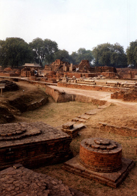 The Deer Park at Sarnath, just outside Varanasi, is considered the birthplace of Buddhism. Here the Buddha preached his first sermon, and later an enormous monastery was erected. When Buddhism died out in India, the site was forgotten, but it has since been thoroughly excavated. Most Buddhist visitors either come from the far north or from abroad.