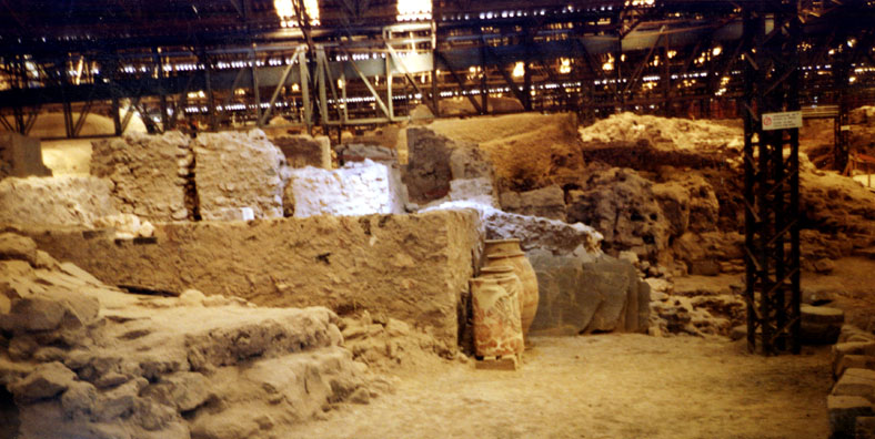 SANTORINI: Like Pompeii, Minoan Acrotiri was preserved when it was buried under volcanic ash, The buildings are being slowly uncovered a brushstroke at a time. The entire city is covered by a shed to protect it (and the archaeologists) from the elements.