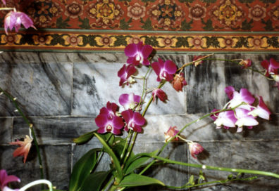 Flowers in front of a Buddhist altar in one of the temples in the Wat Po complex.