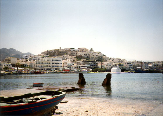 NAXOS: May 30 we took a boat to Naxos. Here is a harbor view of the capitol city of Hora. The Kastro is a charming old walled city from Venetian times, at the top of the hill in the center of town.