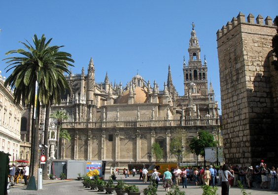 """SEVILLA: The Seville cathedral is famed for its belfry built on top of a well-preserved Moorish minaret, which served the mosque which used to stand on this spot. The tower is called """"La Giralda."""""""