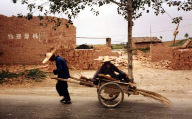 XIAN: Old-fashioned cart seen along the road.