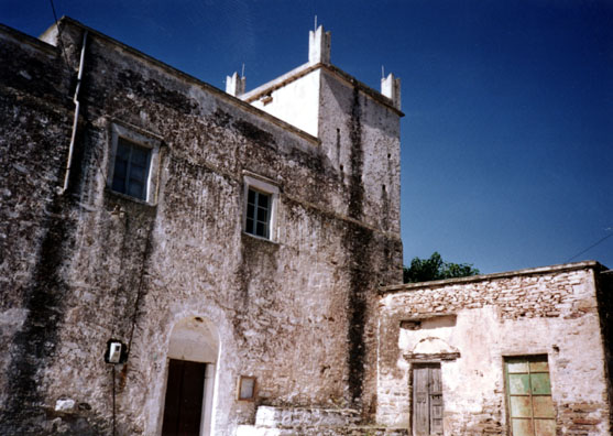 NAXOS: A Venetian-era castle, with typical Guelph rooftop decorations in the rural village of Ano Sangri.