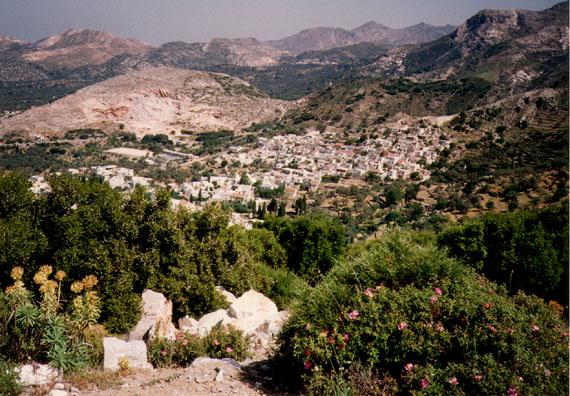 NAXOS: Filoti, supported by the marble quarry just behind it. Some of the finest marble in the world comes from Naxos; lesser grades are turned into whitewash.