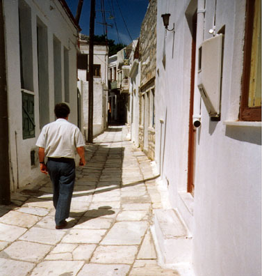 NAXOS: We got lost looking for a bakery we could smell but not find in the winding streets of Apirathos.