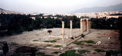 ATHENS: Across the street were the ruins the Temple of Zeus, and a large space cluttered with broken ruins, populated by feral cats which are fed each evening by a conscientious group of old ladies.