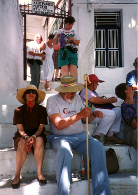 NAXOS: Paula and Don on the steps of the local folk museum.