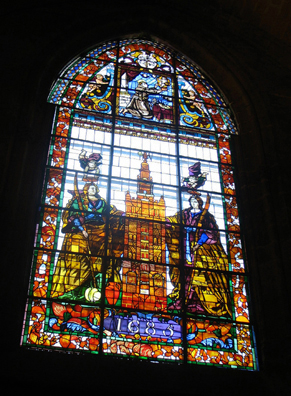 SEVILLA: This window depicts La Giralda, the cathedral's famed bell tower.