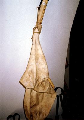 NAXOS: Goatskin bagpipe in the Apirathos folk museum.