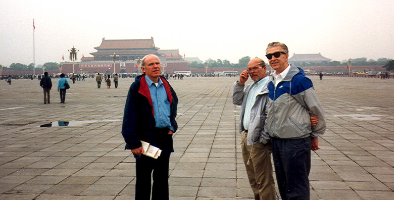 BEIJING: Doug, Terry, and Tom on Tienanmin Square. In the background, the entrance to the Forbidden City. We did the obligatory tour of Mao's tomb (rather simple and austere) sights around Tienanmin Square and had lunch at a very nice restaurant neighboring a Col. Sanders' Kentucky Fried Chicken.