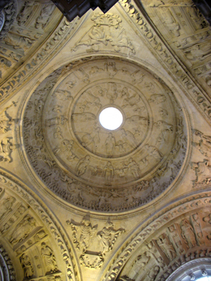 SEVILLA: The carvings on the dome depict the Last Judgement, with the damned being condemned to flames in the outer rim and the saved taken up to heaven in the inner circles.