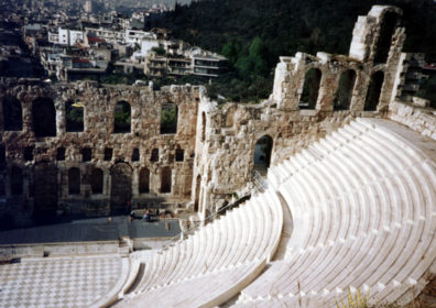 ATHENS: The next morning (May 23) we were up early to explore the Acropolis before the day's mobs of tourists arrived. On the way up we looked down on the Roman theater of Herod Atticus at its base, where performances are regularly given in the summer.